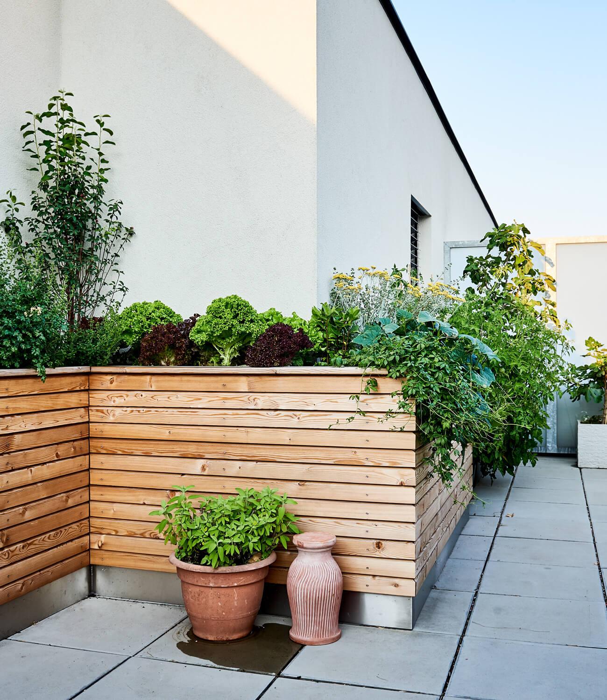 Dachterrasse mit begrüntem Hochbeet