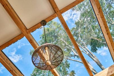 Terrasse mit Glasdach und Blick in die Bäume