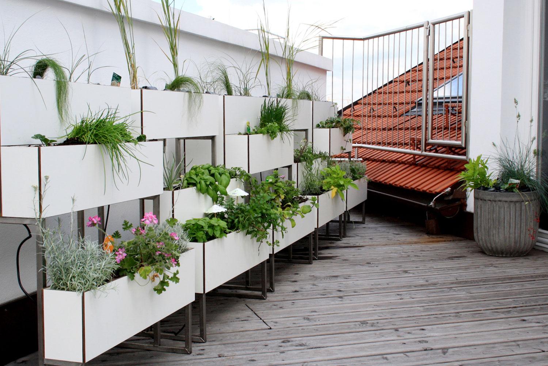Dachterrasse mit Blumenbeeten